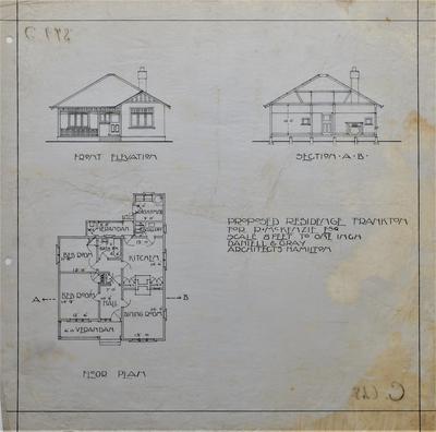 Architectural plans – R. McKenzie's residence, Frankton