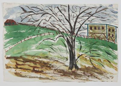 Untitled [Tree Study with Building in the Distance]