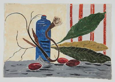 Untitled [Bottle, Tamarillos and Leaves ]