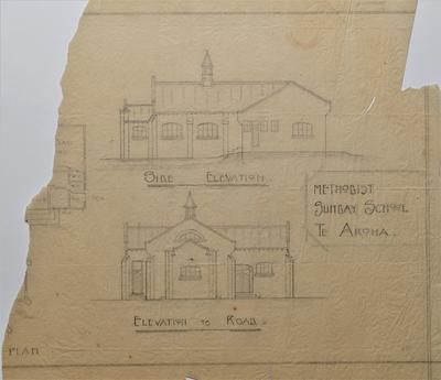 Architectural plans - Plan and Details for Methodist Sunday School, Te Aroha