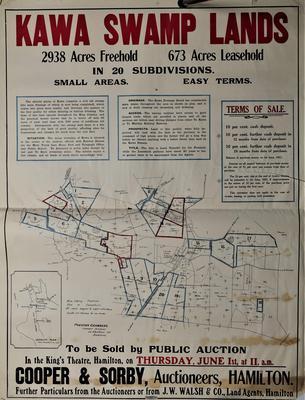 Architectural plans – Kawa Swamp Lands, Public Auction Poster