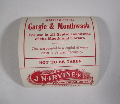 Medicine label J.N. Irvine `Anticeptic Gargle and Mouthwash'