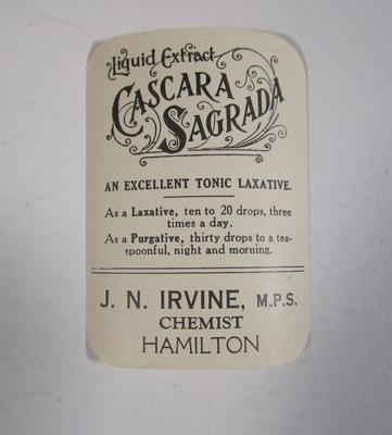Medicine label J.N. Irvine `Cascara Sagrada'