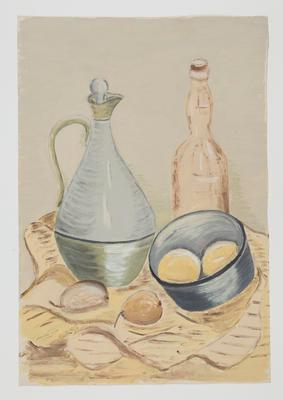 Untitled [Still Life with Decanter, Bottle and Fruit in Bowl]