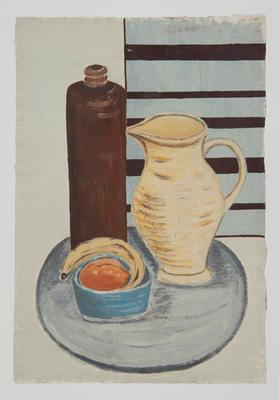 Untitled [Still Life with Botte, Pitcher, Bowl of Fruit]