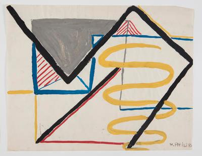 Untitled [Geometric Abstract Composition With Primary Colour Elements]]; Margot Philips; 1987/41/43