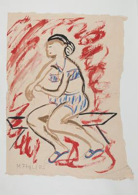 Untitled [Seated Woman in Bathing Costume]; Margot Philips; Circa 1970s; 1987/41/5a