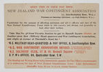 Information card of sketch map for central London bus routes for the New Zealand Soldiers Club and NZ War Contigent Association Officers.  It features a map of places of importance to New Zealand soldiers. It belonged to Archibald Thomas Waters, who was part of the New Zealand Expeditionary Force, 43rd Reinforcements New Zealand Field Artillery.